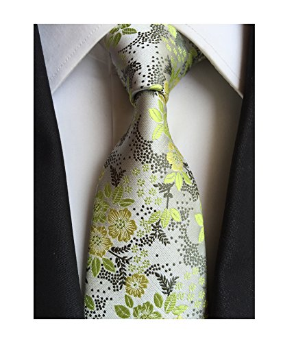 Mens Green Silver Silk Cravat Ties Jacquard Woven Wedding Holiday Prom Neckwear