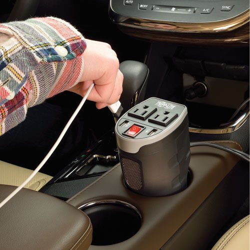Tripp Lite 200W Car Power Inverter with 2 Outlets & 2 USB Charging Ports, Cup Holder Design, Auto Inverter (PV200CUSB)