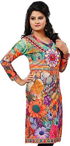 Maple Clothing India Tunic Top Kurti Womens Printed Blouse Indian Apparel (Orange, - Clothing India Blouse