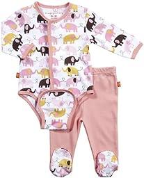 Magnificent Baby L/S Burrito Bodysuit & Pants - Girl\'s Elephant-3M
