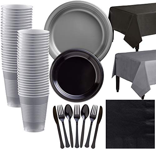 - Party City Black and Silver Plastic Tableware Kit for 50 Guests, 487 Pieces, Includes Plates, Napkins, and Table Covers
