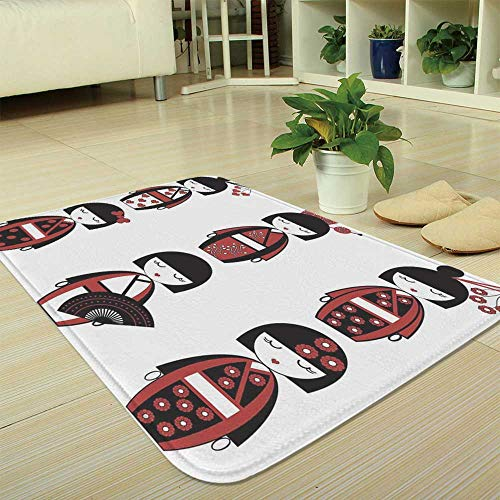 "TecBillion Ultra-Soft Mat,Girls,for Kitchen Living Room,35.43""x47.24"",Unique Asian Geisha Dolls in Folkloric"