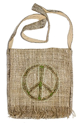 Bohemian Hemp Peace Sign Hippie Shoulder Crossbody Boho Handbag