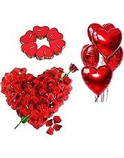 Romantische Kaarsen Rode en Rozenblaadjes, Romantische Versieringsset,50 Theelichtjes Hartvormig,1000 Zijden rozenblaadjes,5 Hartvormige Folieballonnen Decoratie voor Valentijnsdag