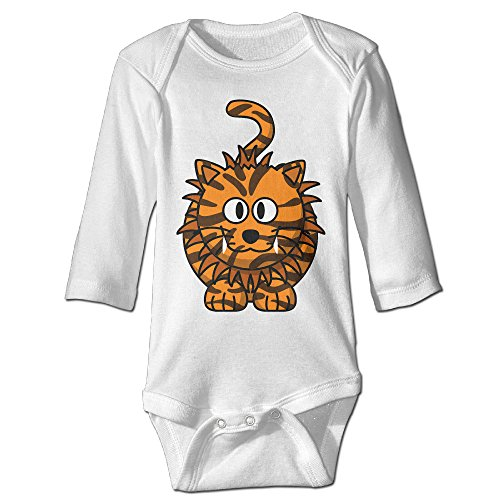 [Raymond Weird Tiger Long Sleeve Bodysuit Outfits White 12 Months] (Magic Mike Baby Costume)