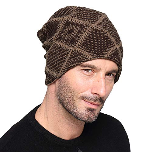 Luffy Beanie - Winter Trendy Thick Knit Check Skull Cap with Fleece Lined-Soft Slouchy Stretch Wool hat for Men and Women (Brown-Check)