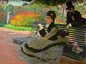 CLAUDE MONET CAMILLE ON A GARDEN BENCH OLD MASTER ART PAINTING 24x18 INCH 61x46 Cms POSTER 481OMLV