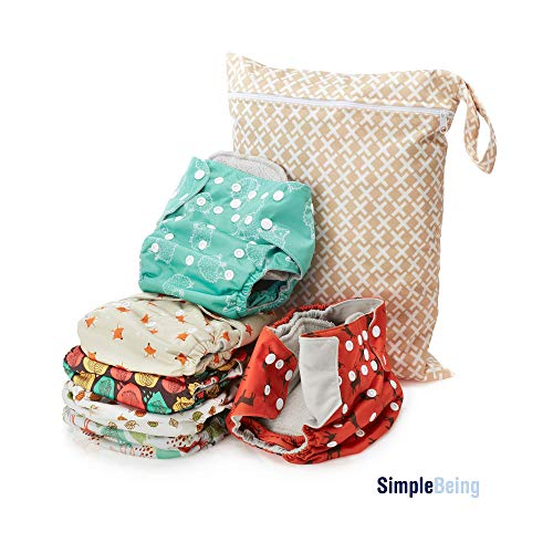 Simple Being Reusable Cloth Diapers, Double Gusset, One Size Adjustable, Washable Soft Absorbent, Waterproof Cover, Eco-Friendly Unisex Baby Girl Boy, with six 4-Layers Microfiber Inserts (Forest) from Simple Being