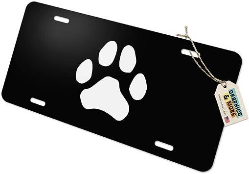 Paw Print Dog Cat White on Black Novelty Metal Vanity Tag License Plate