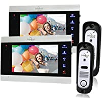 Bcomtech Video Intercom System for Home with Front Back Doorbell Camera and 2 Indoor Monitor 7 Inch For Room Apartment Support Extension Monitor CCTV/Doorbell Camera