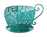 Evergreen Peacock Metal Teacup Planter