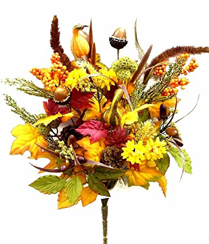 Admired By Nature GPB128-MIXED 4 Piece Halloween/Thanksgiving Decoration Arrangement Artificial Pumpkins/Pine Cone/Acones/Leaves/Filler Fall Harvest Bush, 21