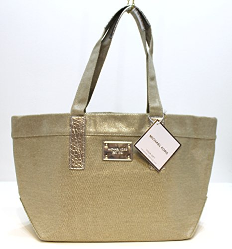 MICHAEL KORS chic tote bag , gold & silver , canvas material * NEW ...