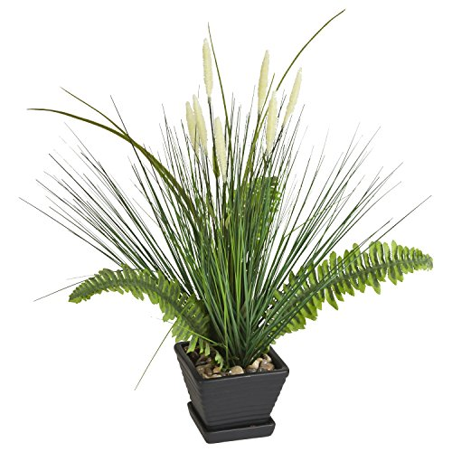 """21"""" Lifelike Potted Artificial Fern with Ornamental Grass..."""