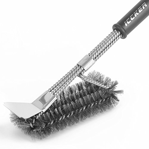 RWM ICCKER Grill Brush - Best BBQ Cleaning Brush for Grill, 18 3 in 1 Stainless Steel Wire Bristles Long Handle for Porcelain, Ceramic, Steel, Iron and Gas Grates