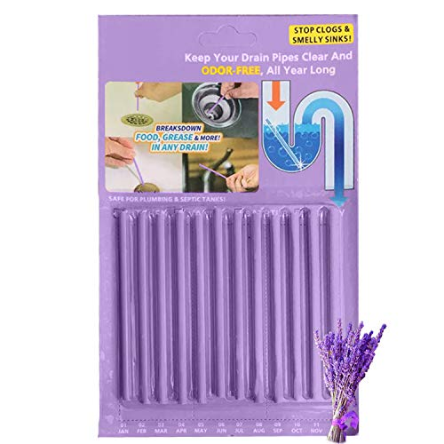 Kitchen Sink Drain Cleaner Sticks - Shower Bathtub Toilet Enzymes Snake Drain Cleaner and Deodorizer Keeps Sewer Pipe Clear and Odor Free, Drain Cleaning Products As Seen On TV Lavender Scent, 12 P
