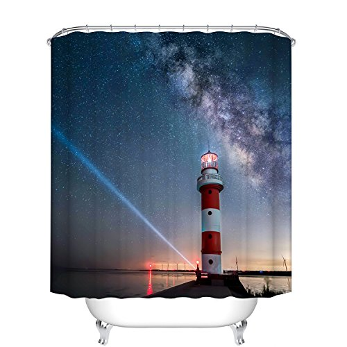 (Fangkun Bathroom Shower Curtain Lighthouse Design - Polyester Fabric Waterproof Bath Curtains Ocean Sunset at Seaside Docks Decor Set - 12pcs Hooks (72 x 72 inches, YL125#) )