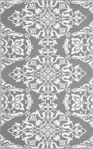 Mad Mats Wrought Iron Indoor Outdoor Floor Mat, 5 by 8 Feet, Cool Silver