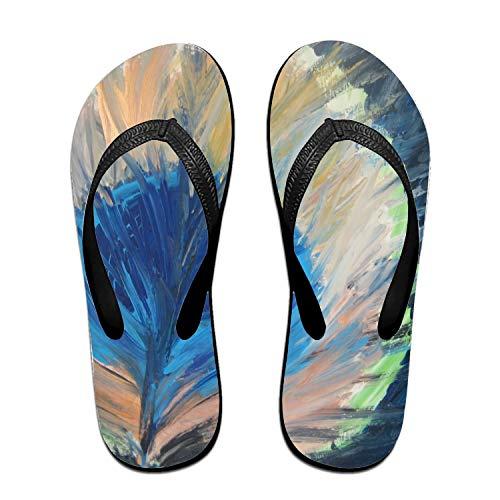 Kefanlk Random Peacock Leaves Flip-Flops Beach Slim Sandal for Women/Men, Multicolored Design Comfort Proof Slippers Black