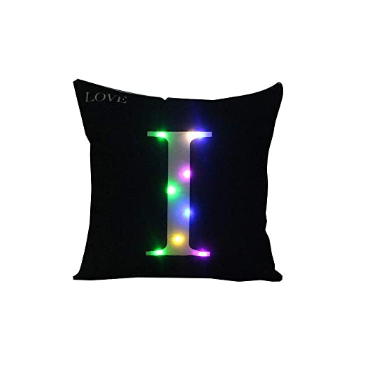 Greetuny 1X 40 * 40CM Funda cojín Luz LED Alfabeto Ingles ...