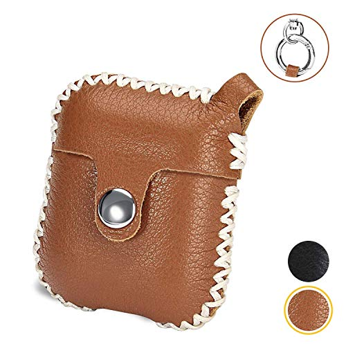 Leather AirPods Case Cover with Keychain, Genuine - Handmade | Compatible AirPod Cases Skins with Apple Air Pod Accessories | Earpods Protective Skin Covers for Wireless Ear Pods Charging Case (Brown)