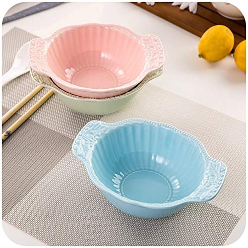 BeesClover Japanese Household Ceramic Bowl with Handle, Creative Rice Bowls Palace reliefs Soup Bowl Salad Bowl K4879 Show