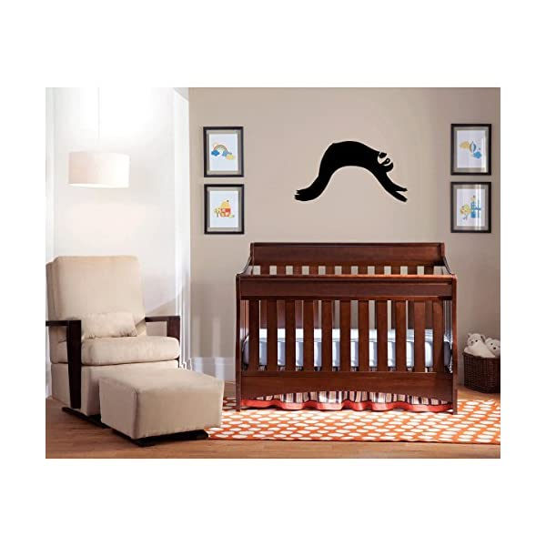 (2X) Nursery Series Sloth Lazy Sticker For Cribs, Walls, Dressers, And More! (Black) -