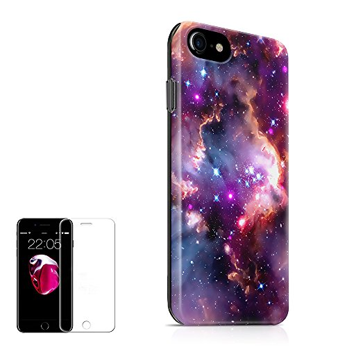 Design Protector Case Stars (iPhone 7 Case,iPhone 8 Case (4.7 inch) Obbii Unique Nebula Galaxy Cloud Design Hybrid Slim Hard Shell+ Inner TPU Protective Durable Cover Case with Clear Screen Protector for iPhone 7/8)