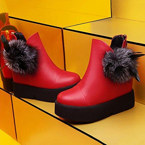 de Femmes Lisse Bottes Boules Fashion Poils PU Martin wzRpzxgqFS