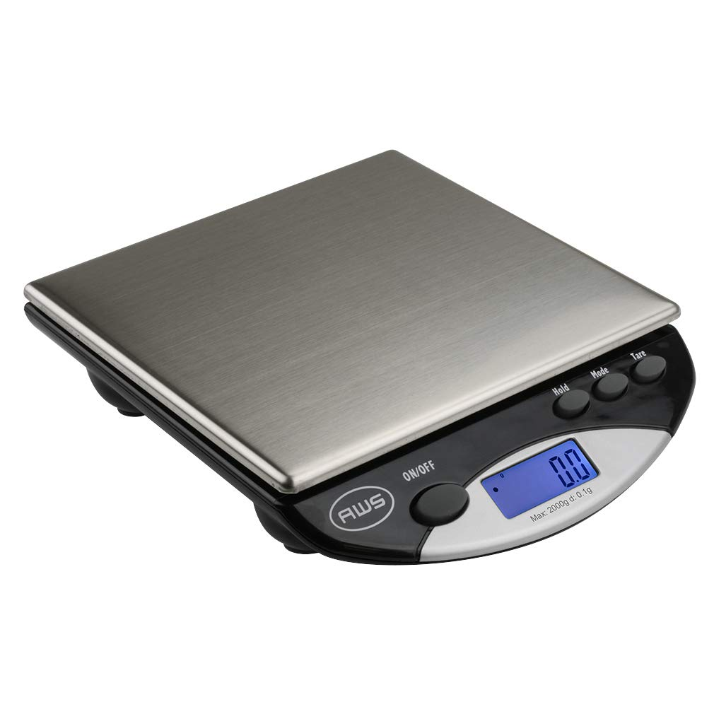 American Weigh Scales AMW Series Precision Digital Kitchen Scale, Stainless Steel, 2000G x 0.1G (AMW-2000) by American Weigh Scales