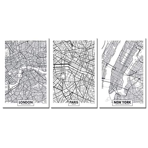 Biuteawal - 3 Piece Canvas Print Linear City Map Painting Wall Art Minimalist Style Poster London Paris New York Aerial View Canvas Artwork Stretched and Framed for Home Living Room Wall Decor