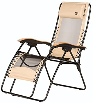 Faulkner 48970 Newport Style Beach Sand Recliner with Wood Armrests, X-Large