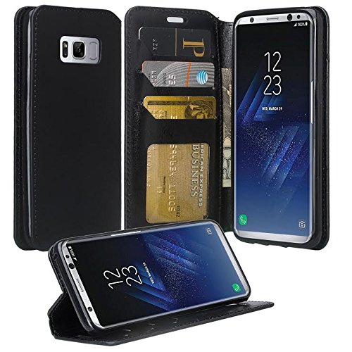 Galaxy S8 Active Case, Samsung Galaxy S8 Active Wallet Case, Flip Folio [Kickstand Feature] Pu Leather Wallet Case with ID&Credit Card Slot For Galaxy S8 Active - Black