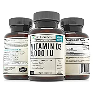 Gaia Sciences Vitamin D3 5,000 IU in Cold-Pressed Organic Olive Oil, GMO-Free, High Potency Softgels, 360 ct.