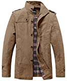 Wantdo Men's Stand Collar Cotton Classic Jacket US Small Khaki