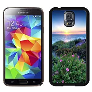 NEW Unique Custom Designed Samsung Galaxy S5 I9600 G900a G900v G900p G900t G900w Phone Case With Pacific Sunset Flowers Shore_Black Phone Case Kimberly Kurzendoerfer