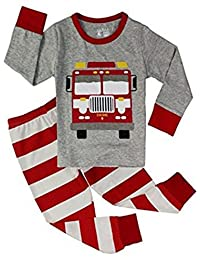 "Babylike ""truck""""folklift"" little boys 2 Piece Pajama 100% Cotton(Size 2-7 Years)"