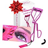 Shimarz Eyelash Curler Extra Refill Pad Included, Curls Eyelashes Effortlessly, Lightweight Sparkling Metallic Magenta Frame, Great Addition to Your Eyelash Applicator Tool & False Lashes Kit