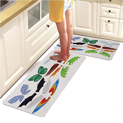 Long Kitchen Floor Mat Rug Runner Set,WashableFlat Vector Set of Colorful Wings of Different Creatures Butterfly Fairy bat Bird Angel and Dragons Elements of Masquerade Costumes (18