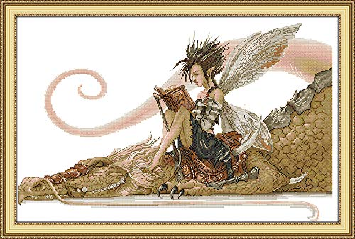 Joy Sunday The Girl Sits on The Dragon Reading A Book Counted Cross Stitch Kits,Cross-Stitch White Blank Fabric Embroidery Kit 14CT 21''x14'' ()