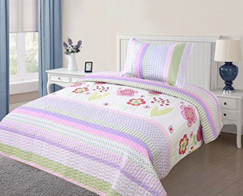 Teens Twin Bed (Green World 2 Piece Kids Bedspread Quilts Set Throw Blanket for Teens Girls Bed Printed Bedding Coverlet, Twin Size, Purple Floral Striped )