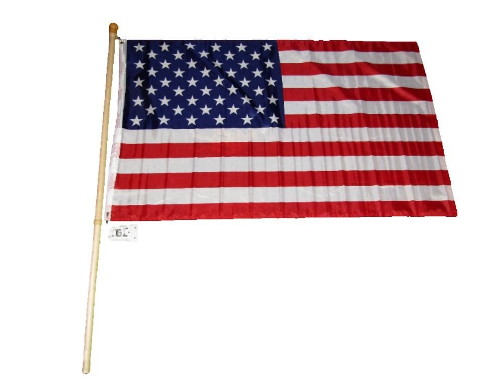 5 Foot Wooden Flag Pole Kit Wall Mount Bracket With 3x5 USA American House Flag PREMIUM Vivid Color and UV Fade BEST Garden Outdor Decor Resistant Canvas Header and polyester material FLAG