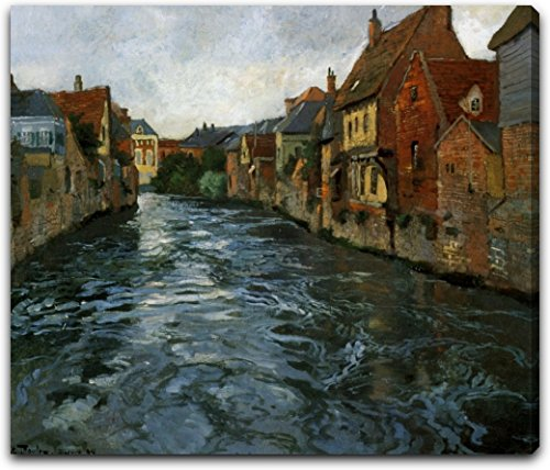 "Bord de Riviere, Vue d'Abbeville by Fritz Thaulow - 21"" x 26"" Extra Thick 2.5"" Gallery Wrapped Canvas Art Print - Ready to Hang"