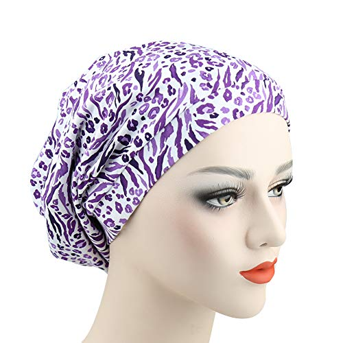 con Satinado Hombres Y Gorro Slouchy Suave Cosy Estampado Banda Elástica Púrpura para Mujeres Forrado Alnorm Xv5qUa