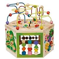 Cubo de la actividad del jardín de EverEarth. Clasificador de formas y colores de madera, laberinto de cuentas y juguete de bebé para contar