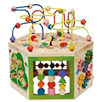 EverEarth Garden Activity Cube. Wood Shape & Color Sorter, Bead Maze & Counti...
