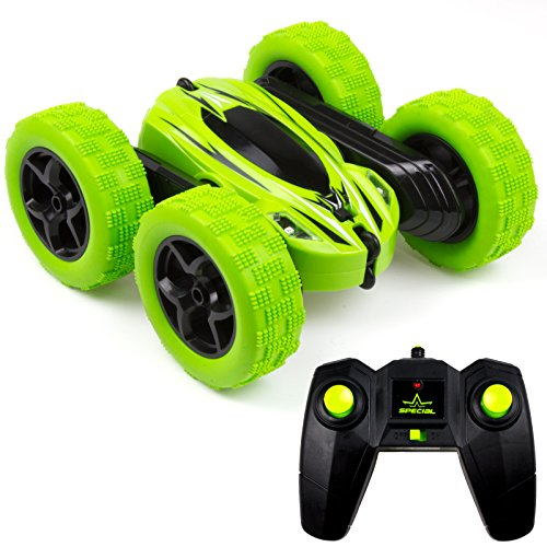 (Cheerwing 1165A-Green Remote Control Monster Truck Toy RC Car 4WD 2.4Ghz Stunt Car Double Sided 360° Flip Slot Car 1: 24 Scale Rock Crawler LED Headlight, Green)