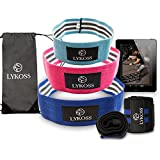 """Lykoss Booty Band Kit: Hip Loop Made with Thick 5 Layered Grips (3 Resistance Levels) + 18"""" Wrist Wraps + Carry Bag 8-in-ONE Set for Men and Women   Complete EBOOK Ideal for Butt and Thigh Training"""