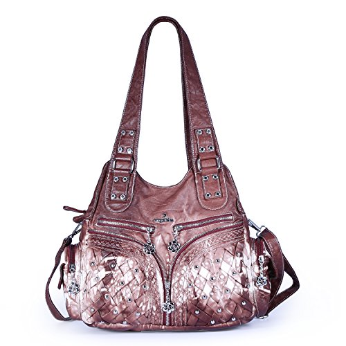 Angelkiss 2 Purses and Handbags Washed PU Leather Shoulder Bag/Massage Bag Fits Ipad (Brown) by Angel Kiss