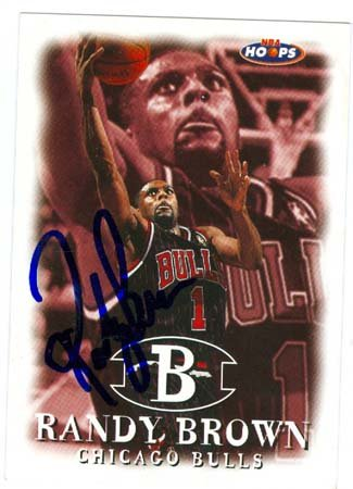 Autograph Warehouse 19670 Randy Brown Autographed Basketball Card Chicago Bulls 1998 Hoops No. 136